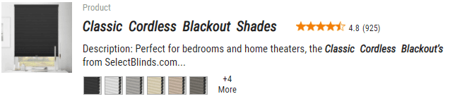 Select Blinds Classic Cordless Blackout Shades