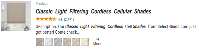 Select Blinds Classic Light Filtering Cordless Cellular Shades