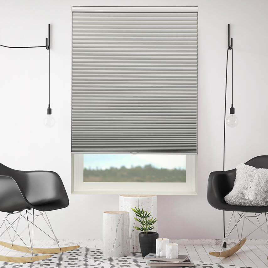 Cellular shades are stylish and insulate from heat and noise.