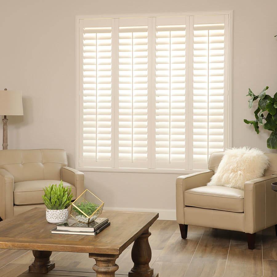 Shutters as minimalist window treatments.
