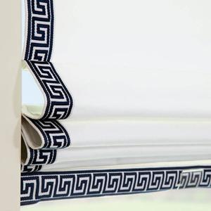 Signature Light Filtering Romans in White Canvas with Greek Key Navy/White Cloth Tape