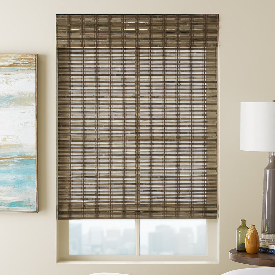 The beauty of classic bamboo can brighten any room. Here's a sample window treatment using our Signature Shoreline Woven Woods.