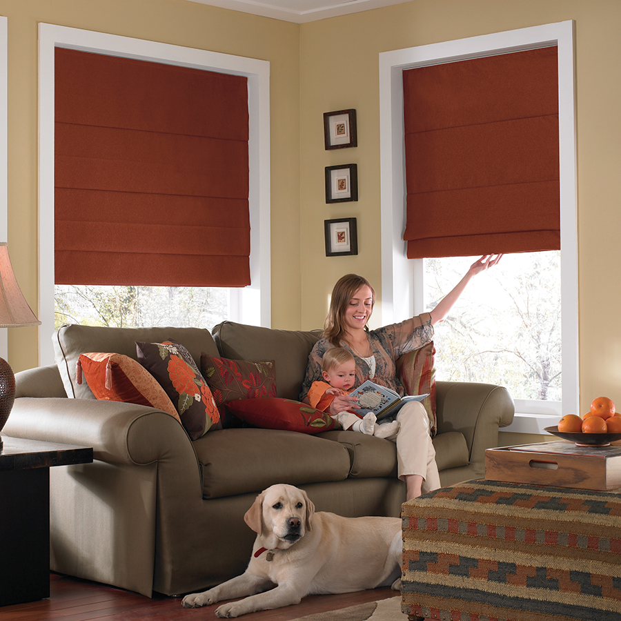 Cordless roman shades features cords on the back of the shade