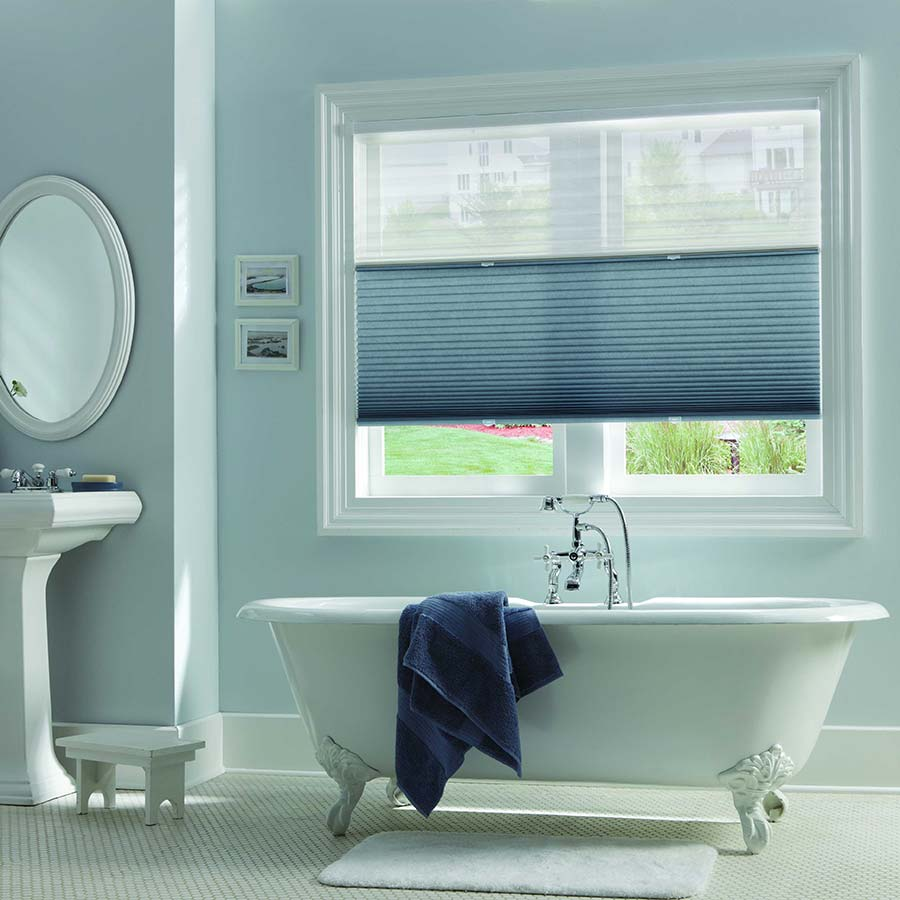 Allow natural light to fill your bathroom while providing privacy with  these Top Down Bottom. Ideas for Bathroom Window Blinds and Coverings