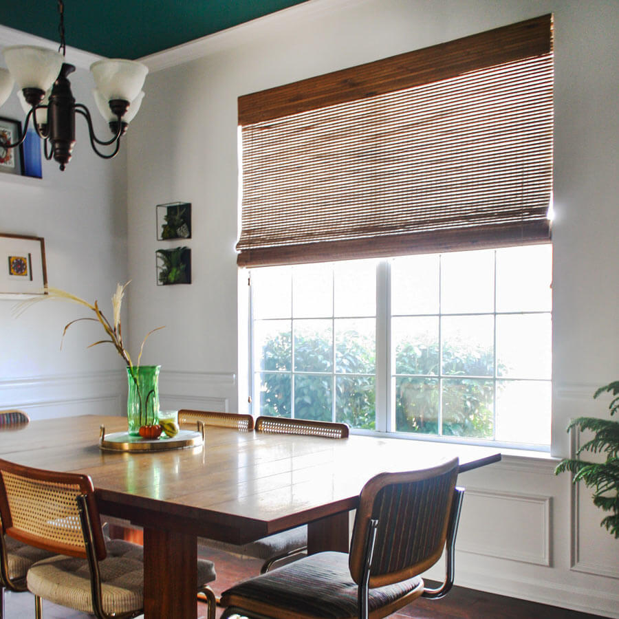 Premier Woven Wood shades are beautiful in this window.