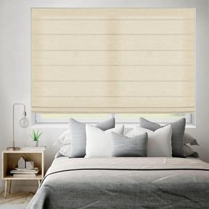 SelectBlinds.com Essential Light Filtering Roman Shades with Standard Flat Fold in Natural Lustre