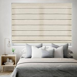 SelectBlinds.com Essential Light Filtering Romans with Soft Fold Style in Natural Lustre