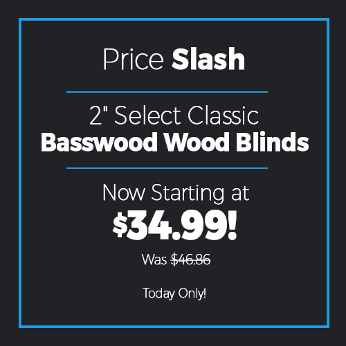 "Price Slash on 2"" Select Classic Basswood Wood Blinds"
