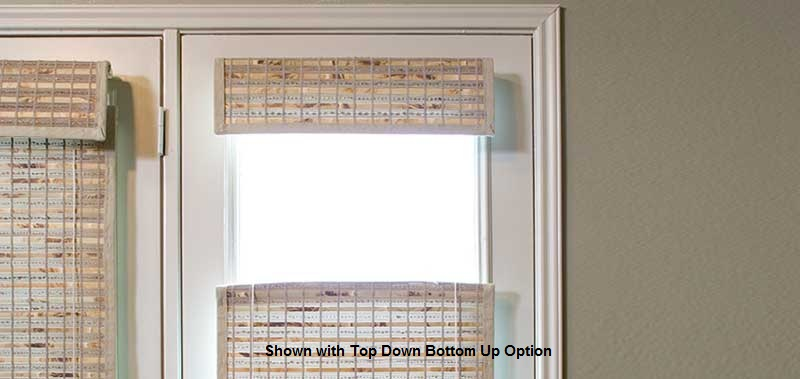 Add a modern look with these Woven Wood Shades to your glass door windows.