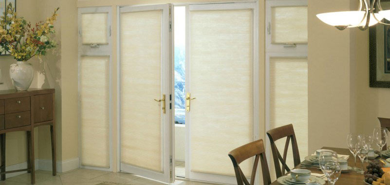 Good Housekeeping 3/8 Inch Double Cell Light Filtering Shades allow the a warm soft & Glass Door Window Covering Ideas Pezcame.Com