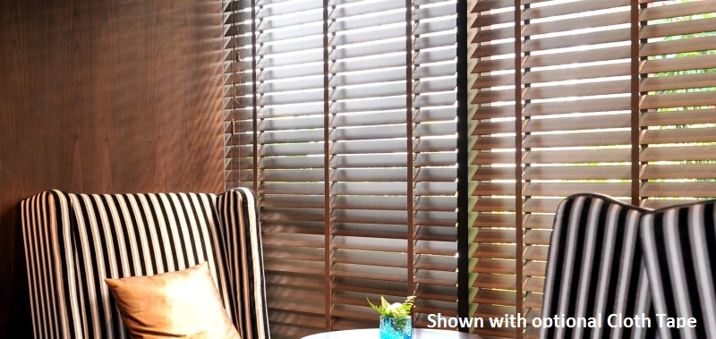 These 2 Inch Designer Faux Wood Blinds are durable rustic window treatments.