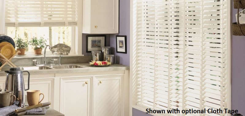 2 inch designer faux wood blinds are moisture resistant and will spice up any kitchen!