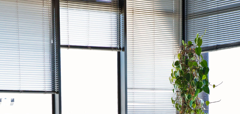 Half Inch Micro Aluminum Mini Blinds are the traditional option for classroom window coverings.