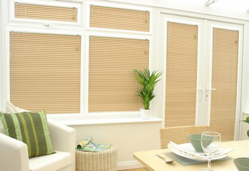 These 1 Inch Select Wood Blinds look great on glass doors!