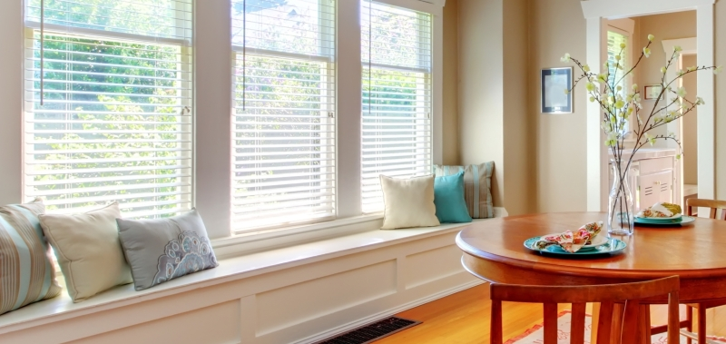 2 inch deep wood blinds are an option for eco-friendly window treatments.