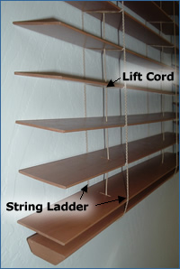 Lift and tilt cords on horizontal blinds