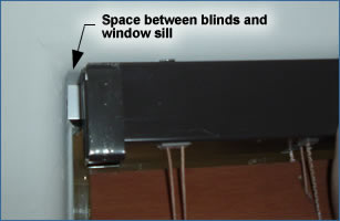 Mount blinds with slight gap between the window sill and the blind headrail