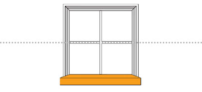 If your window has a sill, measure the height from the window sill to the halfway point of your window.
