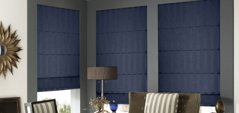 Contemporary Window Treatment Ideas - Deluxe Stripes Roman Shades