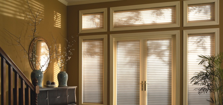 Showcase your glass doors with these 2 Inch Room Darkening Sheer Shades