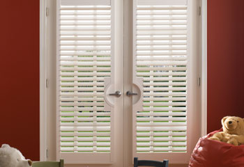 Faux Wood French Door Shutters Custom Blinds and Shades By SelectBlinds.com